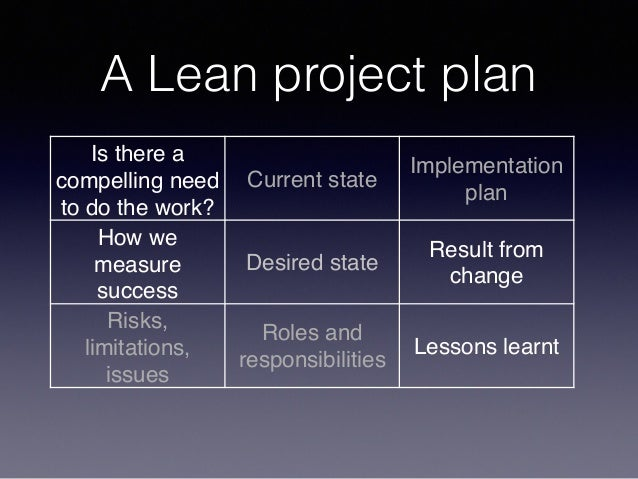 A Lean project plan Is there a compelling need to do the work? Current state Implementation plan How we measure success De...