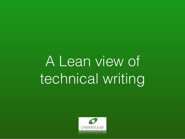 A Lean view of technical writing