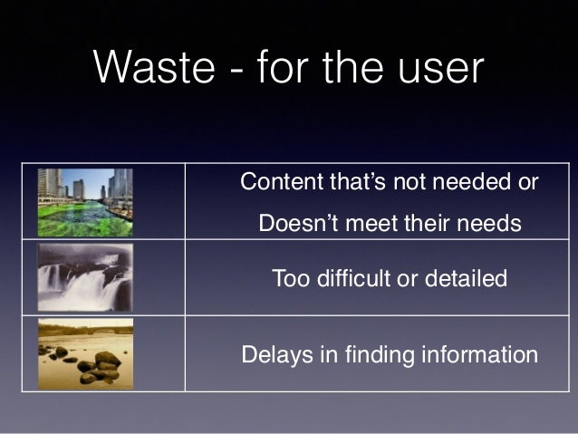 Waste - for the user Content that's not needed or Doesn't meet their needs Too difficult or detailed Delays in finding infor...