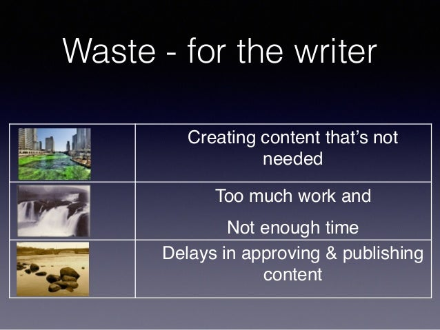 Waste - for the writer Creating content that's not needed Editing/multiple draftsToo much work and Not enough time Delays ...