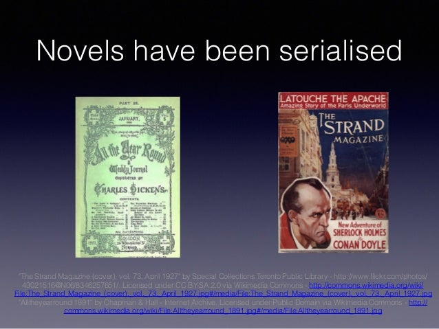 """Novels have been serialised """"The Strand Magazine (cover), vol. 73, April 1927"""" by Special Collections Toronto Public Libra..."""