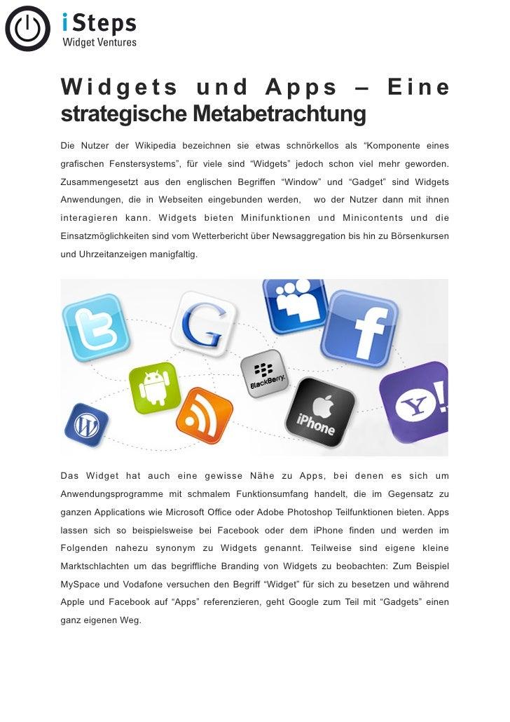 """Widgets und Apps – Eine strategische Metabetrachtung Die Nutzer der Wikipedia bezeichnen sie etwas schnörkellos als """"Kompo..."""