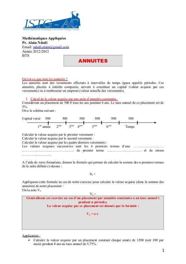Mathématiques AppliquéesPr. Alain NdediEmail: ndedi.alain@gmail.comAnnée 2012/2013BTS                                     ...