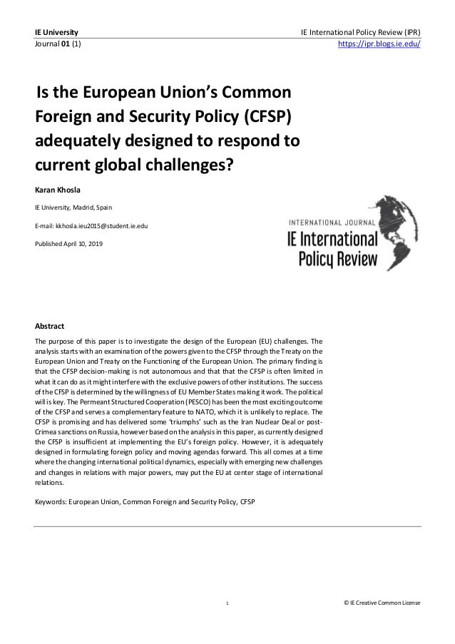 IE University IE International Policy Review (IPR) Journal 01 (1) https://ipr.blogs.ie.edu/ 1 © IE Creative Common License...