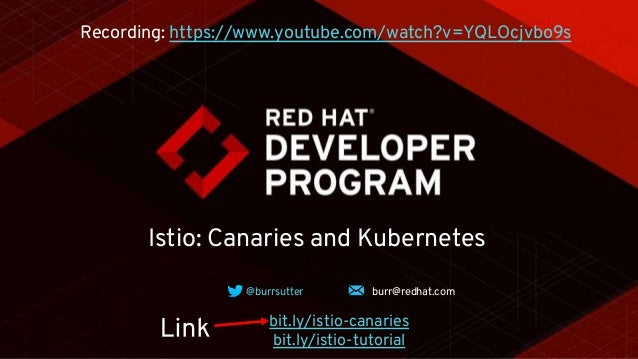 Istio: Canaries and Kubernetes @burrsutter burr@redhat.com bit.ly/istio-canaries bit.ly/istio-tutorial Recording: https://...