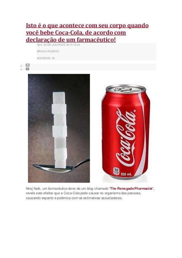 Isto é o que acontece com seu corpo quando você bebe Coca-Cola, de acordo com declaração de um farmacêutico! QUI, 30 DE JU...