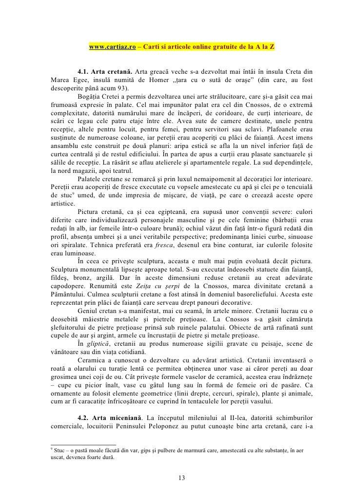 www.cartiaz.ro – Carti si articole online gratuite de la A la Z           4.1. Arta cretană. Arta greacă veche s-a dezvolt...