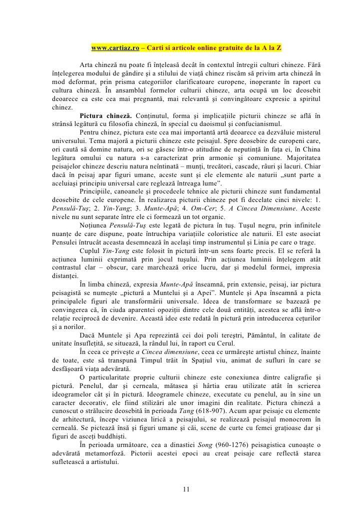 www.cartiaz.ro – Carti si articole online gratuite de la A la Z           Arta chineză nu poate fi înţeleasă decât în cont...