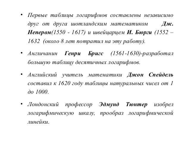История развития логарифмов реферат кратко 1804