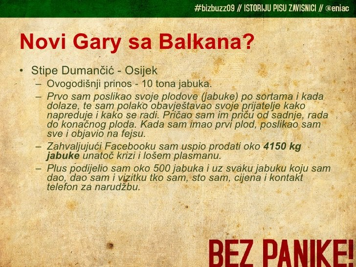 Novi Gary sa Balkana? <ul><li>Stipe Dumančić - Osijek </li></ul><ul><ul><li>Ovogodišnji prinos - 10 tona jabuka. </li></ul...