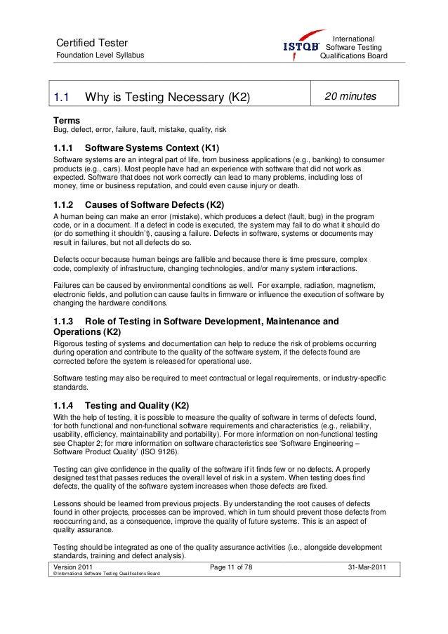 Istqb Foundation Level Syllabus 2011
