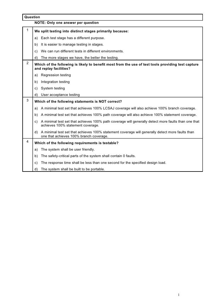 Question     NOTE: Only one answer per question 1   We split testing into distinct stages primarily because:     a) Each t...