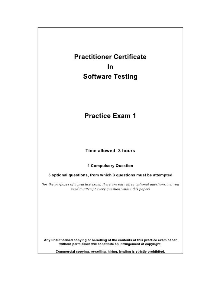 Practitioner Certificate                                In                       Software Testing                         ...