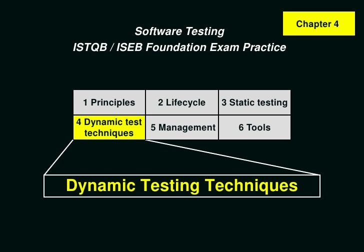 Chapter 4            Software Testing ISTQB / ISEB Foundation Exam Practice      1 Principles   2 Lifecycle   3 Static tes...