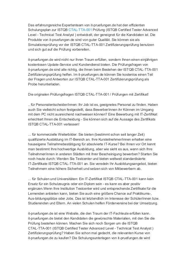 it-pruefungen.de Istqb CTAL-TTA-001 prüfung