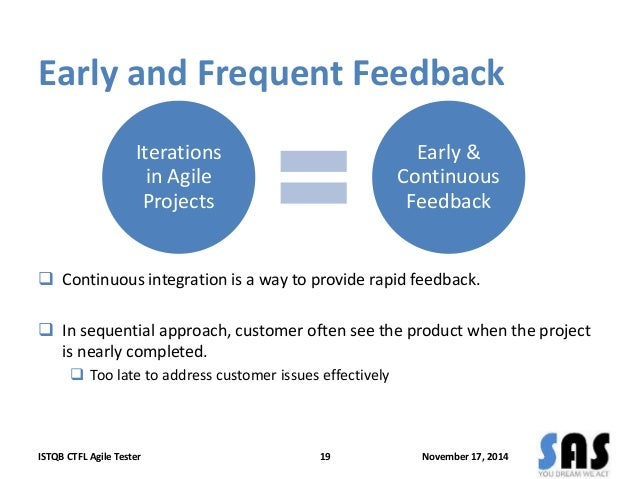 Early and Frequent Feedback  Iterations  in Agile  Projects  Early &  Continuous  Feedback   Continuous integration is a ...