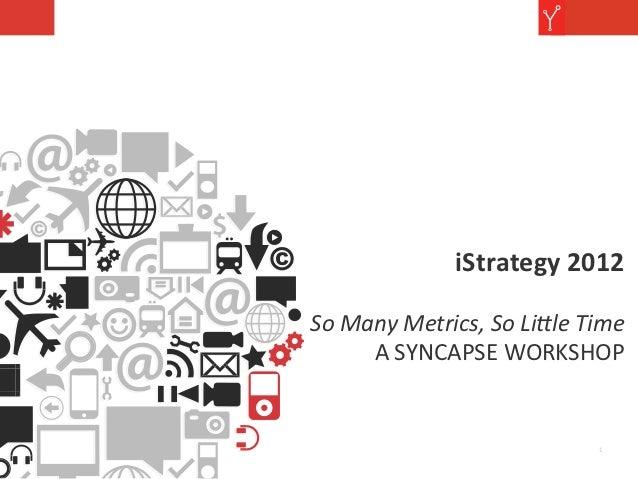 iStrategy 2012                                               So Many Metrics, So Li0le Time          A...