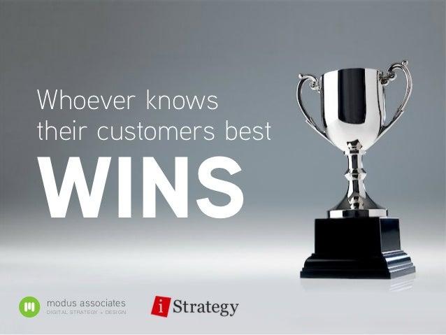Whoever knowstheir customers bestWINSmodus associatesDIGITAL STR ATE G Y + D E S IG N