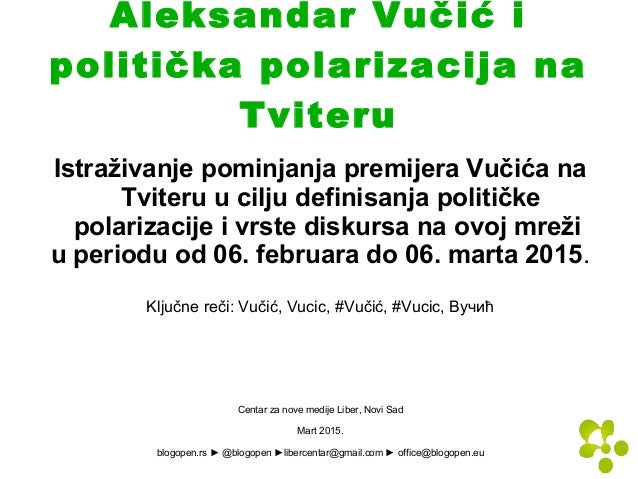 Aleksandar Vučić i politička polarizacija na Tviteru Istraživanje pominjanja premijera Vučića na Tviteru u cilju definisan...