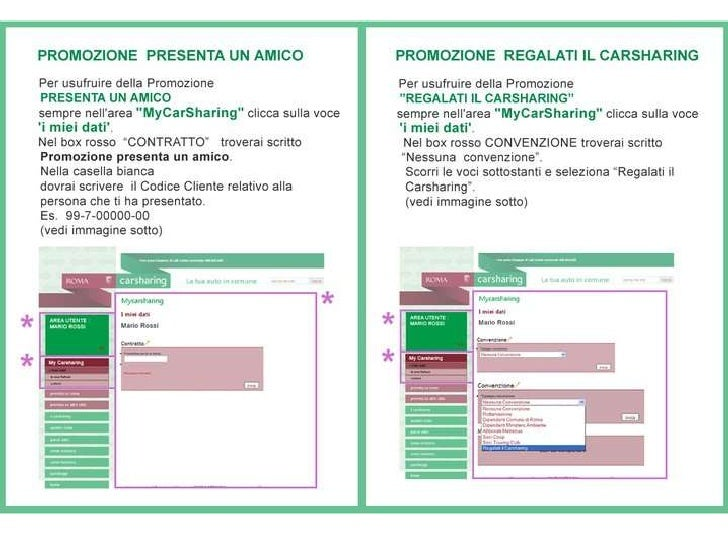 Istruzioni iscrizione Car Sharing Roma