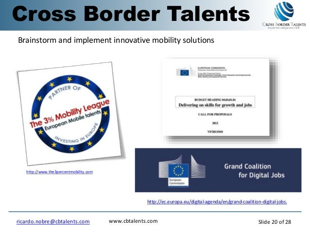 http://www.the3percentmobility.com http://ec.europa.eu/digital-agenda/en/grand-coalition-digital-jobs. Brainstorm and impl...