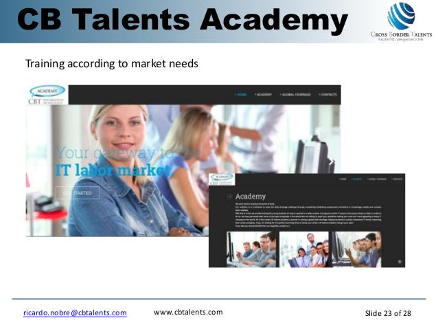 Training according to market needs CB Talents Academy www.cbtalents.comricardo.nobre@cbtalents.com Slide 23 of 28