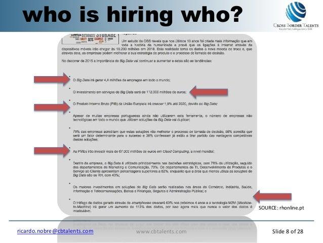 who is hiring who? SOURCE: rhonline.pt www.cbtalents.comricardo.nobre@cbtalents.com Slide 8 of 28