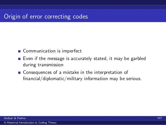 How were the first error correcting codes constructed? A historical i…