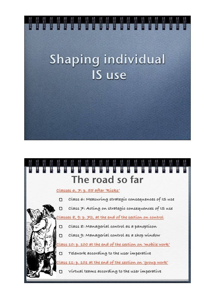 Shaping individual       IS use             The road so far  Classes 6, 7: p. 55 after 'Risks'        Class 6: Measuring s...