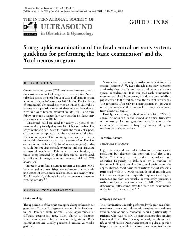 Ultrasound Obstet Gynecol 2007; 29: 109–116 Published online in Wiley InterScience (www.interscience.wiley.com). DOI: 10.1...