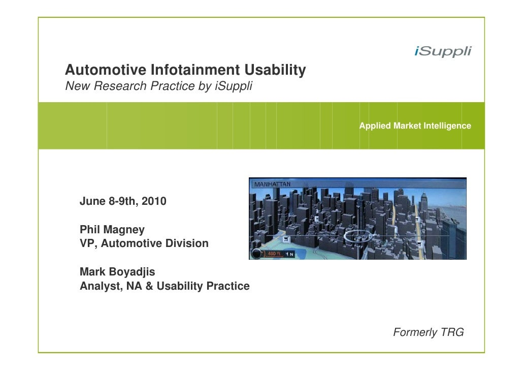 Automotive Infotainment Usability New Research Practice by iSuppli                                        Applied Market I...