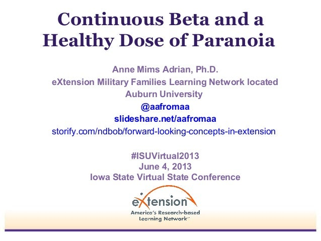 Continuous Beta and aHealthy Dose of ParanoiaAnne Mims Adrian, Ph.D.eXtension Military Families Learning Network locatedAu...