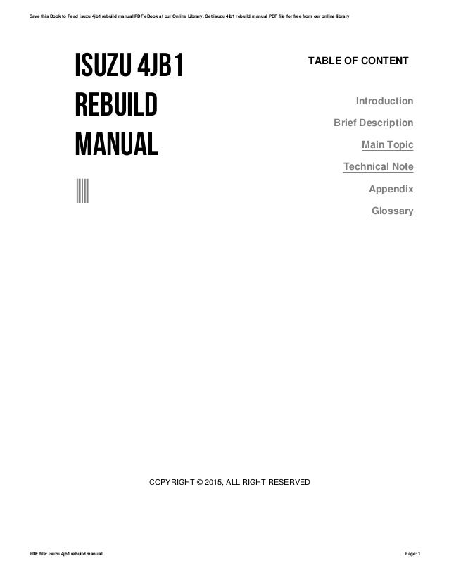 Isuzu troope 4jb1tc workshop manual ebook array 4jb1 service manual ebook rh 4jb1 service manual ebook ballew us fandeluxe Image collections