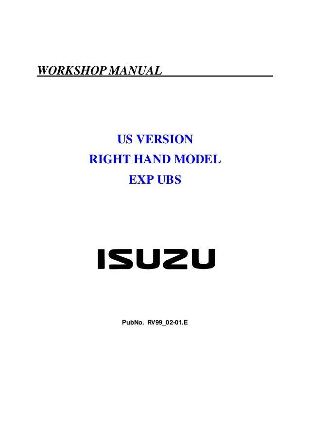 WORKSHOP MANUAL         US VERSION      RIGHT HAND MODEL           EXP UBS          PubNo. RV99_02-01.E