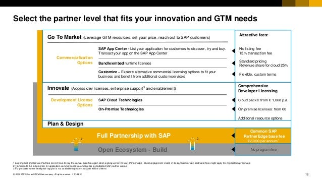 16PUBLIC© 2018 SAP SE or an SAP affiliate company. All rights reserved. ǀ Select the partner level that fits your innovati...