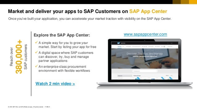 18PUBLIC© 2018 SAP SE or an SAP affiliate company. All rights reserved. ǀ ✓ A simple way for you to grow your market. Star...