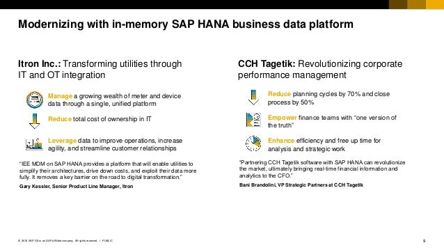 9PUBLIC© 2018 SAP SE or an SAP affiliate company. All rights reserved. ǀ Modernizing with in-memory SAP HANA business data...