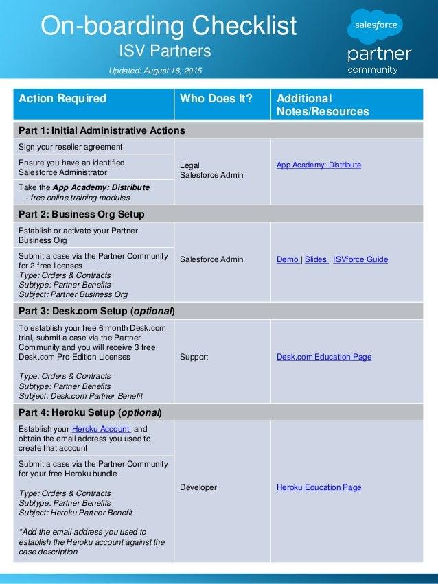 ISV Partner On-boarding Checklist