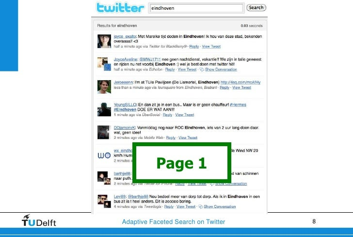 Page 1Adaptive Faceted Search on Twitter   8