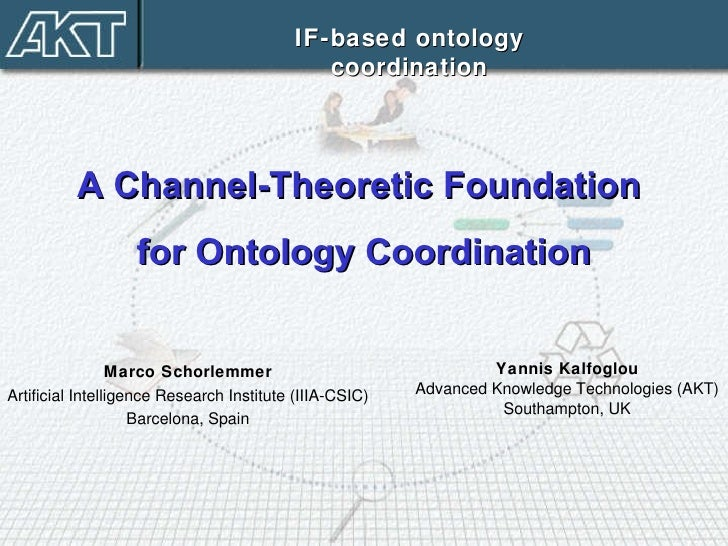 Yannis Kalfoglou Advanced Knowledge Technologies (AKT) Southampton, UK IF-based ontology coordination A Channel-Theoretic ...