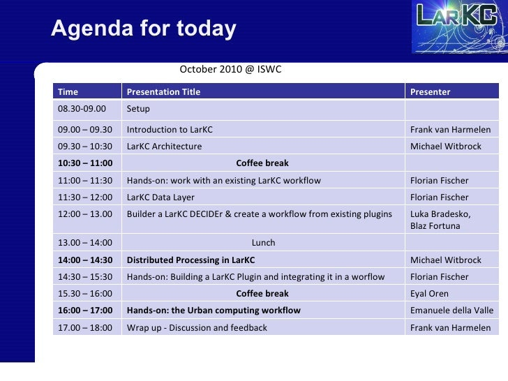 Agenda for today October 2010 @ ISWC Time Presentation Title Presenter 08.30-09.00 Setup 09.00 – 09.30 Introduction to Lar...