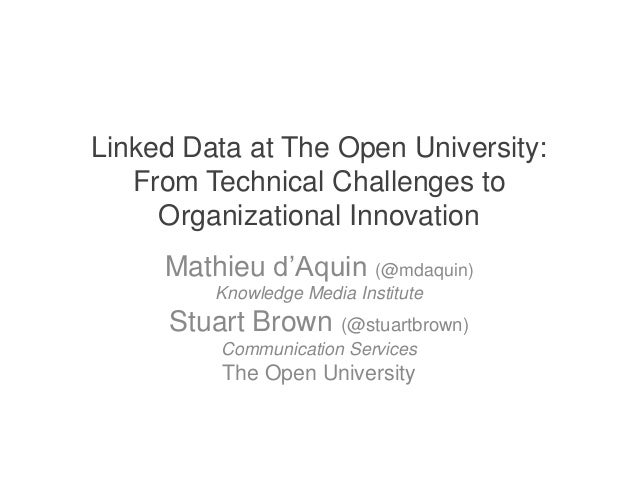 Linked Data at The Open University:   From Technical Challenges to     Organizational Innovation     Mathieu d'Aquin (@mda...