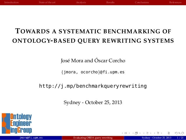 Introduction  State of the art  Analysis  Results  Conclusions  References  T OWARDS A SYSTEMATIC BENCHMARKING OF ONTOLOGY...