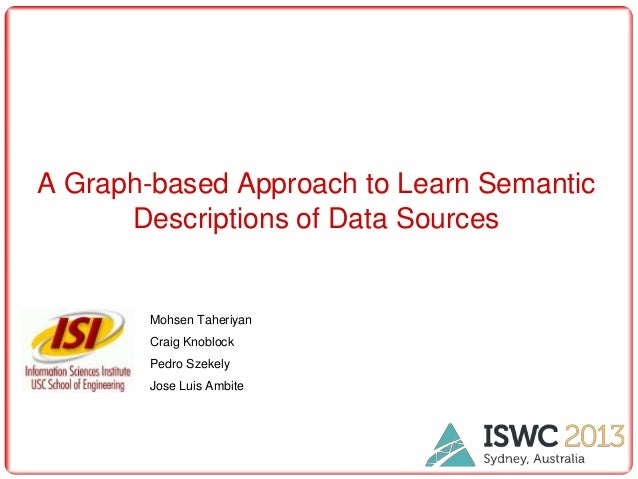 A Graph-based Approach to Learn Semantic Descriptions of Data Sources  Mohsen Taheriyan Craig Knoblock Pedro Szekely Jose ...