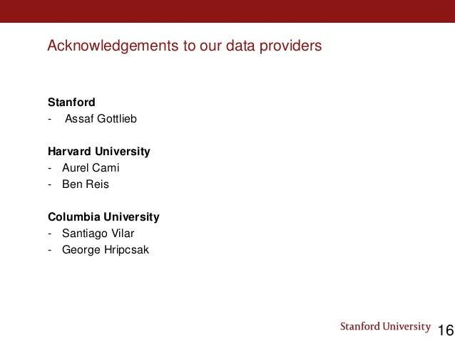 Acknowledgements to our data providers Stanford - Assaf Gottlieb Harvard University - Aurel Cami - Ben Reis Columbia Unive...