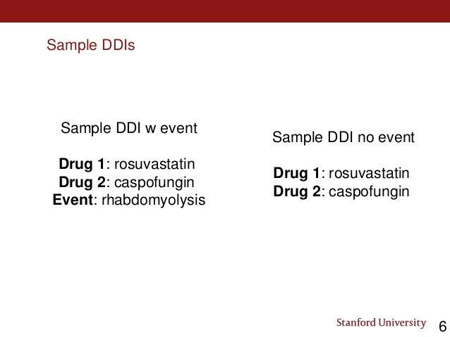 Sample DDIs Sample DDI w event Drug 1: rosuvastatin Drug 2: caspofungin Event: rhabdomyolysis Sample DDI no event Drug 1: ...