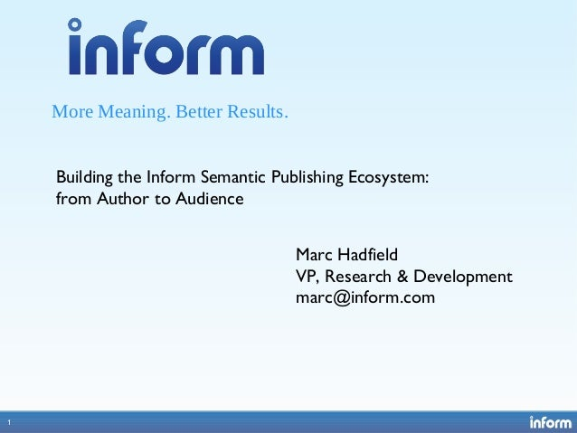 1 More Meaning. Better Results. 1 Building the Inform Semantic Publishing Ecosystem: from Author to Audience Marc Hadfield...