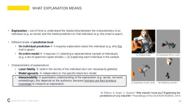 WHAT EXPLANATION MEANS • Explanation = set of hints to understand the relationship between the characteristics of an indiv...