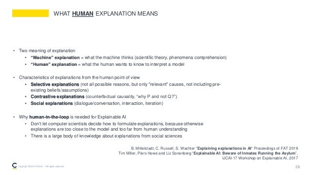 """WHAT HUMAN EXPLANATION MEANS • Two meaning of explanation • """"Machine"""" explanation = what the machine thinks (scientific th..."""