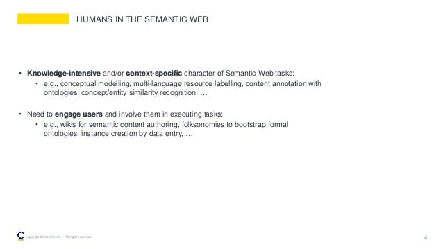 HUMANS IN THE SEMANTIC WEB • Knowledge-intensive and/or context-specific character of Semantic Web tasks: • e.g., conceptua...